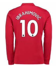 Thai Quality Customized 17-18 New season men Long sleeve 10 IBRAHIMOVIC Soccer Jerseys shirts,Discount mens 9 LUKAKU 6 POGBA top Soccer Wear