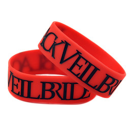 Wholesale 50PCS Lot Black Veil Bride Silicone Wristband Black And Red 1 Inch Wide Bracelet For Music Fans