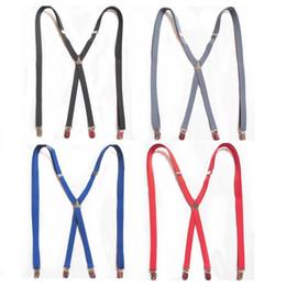 Wholesale Mens LARGE SIZE Suspenders Adults Skinny Slim Suspenders Clip on X Back BLACK Braces Elastic Suspenders X120CM