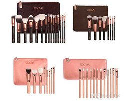 Wholesale New ZOEVA Brushes Makeup Professional Brushes Kit Foundation Brush Bamboo handle Luxury Bag piece Black Pink bag