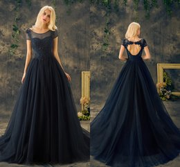 New Navy Blue Real Prom Dresses Scoop Neck Short Sleeve A Line Appliques Lace Beaded Sexy Heart Back Formal Evening Dresses Mother Dress