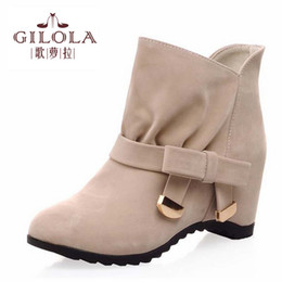 Venta al por mayor nuevo 2016 tamaño 34-43 mujeres de moda de tobillo hight aumento de las mujeres botas de zapatos mujer otoño de invierno botas mejor # Y1083226F best wholesale women boots deals desde mejores botas de las mujeres al por mayor proveedores