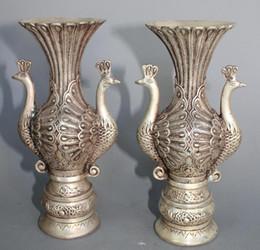 Exquise sculpté Argent Paon Vase une paire de Statue