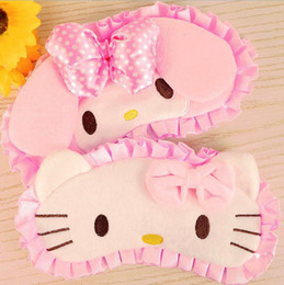 Masque de chat en Ligne-En gros-Kawaii Cartoon Kitty Cat Mélodie Travel Rest EyeShade.Pink Masque de nuit Sleeping Cover.Eyepatch Blindfolds.Party Masques