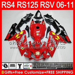 Body For Aprilia RS4 RSV125 RS125 06 07 08 09 10 11 RS125R RS-125 70HM23 glossy red RSV 125 RS 125 2006 2007 2008 2009 2010 2011 Fairing