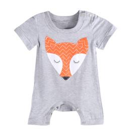 Children Costume Toddler baby boys girls rompers boys girls bodysuit newborn newest fashiion fox animal print grey color hot selling 2016