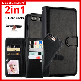 Wholesale For iphone plus in Wallet Leather Case Cover With Magnetic Detachable Removable Card Slots Pockets Phone Bag for iphone plus s7