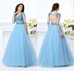 New Unique 2017 Sky Blue Quinceanera Dresses Backless Half Sleeve 15 years Floor Length Organza V Neck Beaded Pageant Party Ball Gown