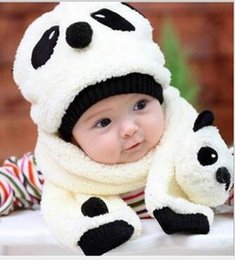 Wholesale Warm Winter Beanie Fashion Baby Design Panda Children Kids Snapbacks Cap Infant Plush Cartoon Sweater Hat And Scarf Suit Colors for Xmas