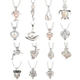 2017 colliers de perles 18kgp Locket Cages avec chaîne Love Wish Pearl / Gem perles Pearl Necklace Mountings