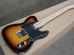 Descuento cuerdas custom shop Sunburst Custom Shop Cuerpo Basswood Telecaster Maple Fingerboard Tele 6 Cuerdas Guitarra Eléctrica Chrome Hardware