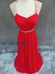 Canada Robes de soirée rouge Robes de bal en mousseline de soie Backless Perles Robes de longueur à pied 2017 Robes de soirée New Arrival Sweep Train Real Pictures Blue pictures long red evening dresses promotion Offre