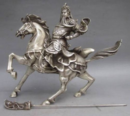 Wholesale Chinese Collectable Tibet Silver Warrior God Guan Yu Horse Statue
