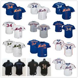 NY Mets #34 Noah Syndergaard Majestic New York MLB Baseball Jerseys Black White Orange Blue With Mr Mets Patch On Sale