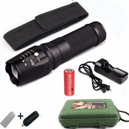 Wholesale LED Flashlights X800 lanterna CREE XM L2 Lumens Zoomable lanterna LED with EU US AC Charger battery Tactical Flashlight Torch