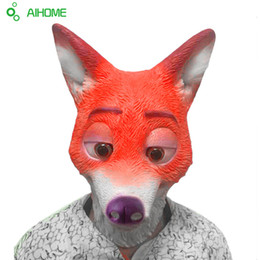 Acheter en ligne Caoutchouc respirante-Grossiste-1Pcs Full Head Masque adulte masque de tête de Fox Funny Nick Fox latex respirant Réaliste Crazy Masque de caoutchouc Party Cosplay Halloween Masque