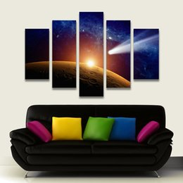 Wholesale 5 Panel Painting Outer Space Moon Painting Canvas Art Prints Landscape Wall Pictures for Living Room Home Decoration Unframed