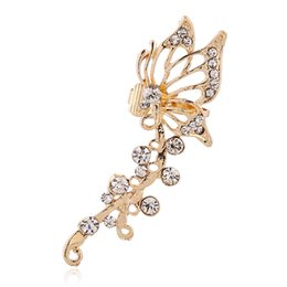 Popular Piercing Jewelry Women Gift Crystal Ear Cuff Hollow Butterfly Zircon Flowers Earcuff Funcrional Clips Earrings