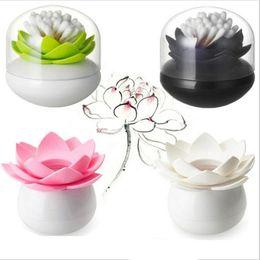 Wholesale Colorful Durable Cotton Swab Toothpick Holder Case Bud Box Lotus Vase Decorating