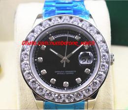 2017 Fábrica de moda de oro blanco Día-Fecha Presidente W / Mens más grande Diamante Negro Dial cerámica Bisel 41MM hombres mecánicos reloj de pulsera desde cerámica blanca reloj de pulsera fabricantes