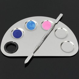 Wholesale Stainless Steel Cosmetic Makeup Nail Art Gel Palette Spatula Five hole Shape Cream Foundation Mixing Tool Beauty Make Up Set
