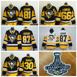 Wholesale Pittsburgh Penguins Sidney Crosby Men Hockey Jerseys Stitch Stanley Cup Champion Patches Professional Ice Hockey Uniforms