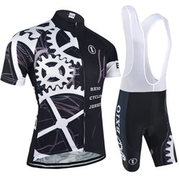 BXIO New Cycling Jersey Pro Team Mountain Bike Sport Wear Jersey Short Sleeve Cycle Clothing Sets Ropa Ciclismo Black Bicycle Clothes BX-080