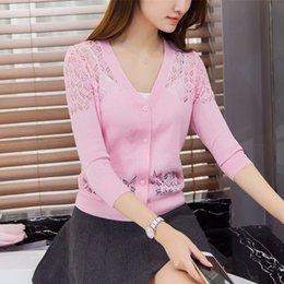 Promotion noir cardigan tricoté Vente en gros 2016 Summer Knitted Tops V-neck cape Half Sleeve Cardigan Mode Femmes Sweater Coat Couleur Blanc Rose Noir Rose Violet
