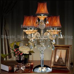 Descuento mesa moderna habitación lámparas Lámpara de mesa moderna lámpara de mesa LED mesa Lámparas de vela moderno Cristal mesa de iluminación de vidrio brazos de boda candelabros sala de estar llevó lámpara de escritorio