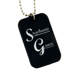 Wholesale 50PCS Lot Stephanie Grace Silicone Dog Tag Pendant Necklace With 24 Inch Ball Chain Promotion Gift