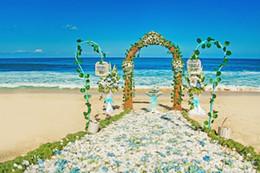 2017 fondos de verano Blanco pétalos azules fondo romántico de la fotografía de la boda paisaje de la playa adornado arco puerta verano cielo azul telón de fondo del mar Studio Shoot Prop fondos de verano oferta