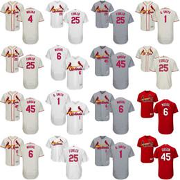 Mens 2017 St. Louis Cardinals #25 Dexter Fowler 1 Ozzie Smith 45 bob gibson 6 stan musial Flexbase Cool Base All Stitched Baseball Jerseys