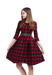 Women's Crew Neck with belt 3 4 Sleeve Split Plaid Art Green Red Black 1950's Vintage Party Dress
