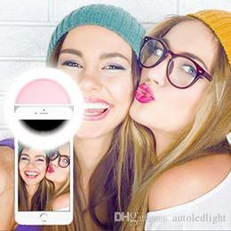 Descuento anillo de luz led de la cámara Selfie Flash portátil llevó cámara fotográfica del teléfono Fotografía Luz de aumento de la fotografía para Smartphone rosa y blanco