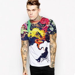 2017 fashionable hot style smoke sky digital printing Europe and the United States men's quick-drying short-sleeved t-shirts