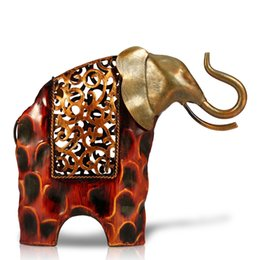 Wholesale TOOARTS Carved iron art elephant Metal animal sculpture Home furnishing Articles A004