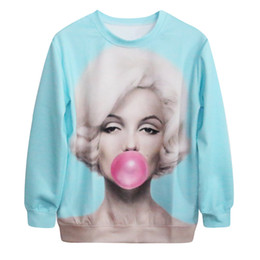 Wholesale Punk wind digital printing starry sweater manufacturers Marilyn Monroe balloon loose version of the casual sweater SJMD07