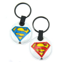 Wholesale 50PCS Lot The Superman LED Flash Light PVC Keychain Perfect To Use In Any Benefits Gift