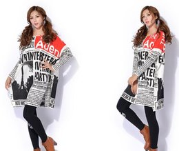 Wholesale 2016 Women Autumn Winter Kinitted Long Pullover Newspaper Printing Long Sleeve Loose Blouse Free Size Lady Casual Clothing