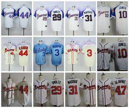 Wholesale Throwback Atlanta Braves Baseball Jerseys Hank Aaron Dale Murphy Greg Maddux John Smoltz Chipper Jones Tom Glavine Jerseys