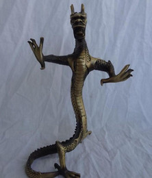 Chinese Bronze Zodiac FengShui Wealth Dragon Head Statue Animals Sculpture
