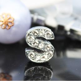 50pcs lot 10mm S Full Rhinestones Bling Slide Letters DIY Alloy Charms Fit For 10MM wristband bracelet 0033