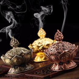Saint Lotus tibétain conçu encens brûleur alliage de zinc Bronze mini encens brûleur artisanat en métal Décoration intérieure 3 couleurs à partir de décor de zinc fabricateur
