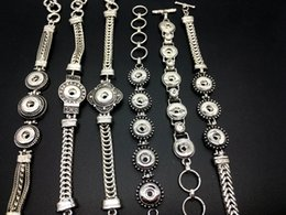 Wholesale Women MM Ginger Snap Bracelet Mixed Style Snap Button Antique Silver Jewelry Bracelet Fit mm Snap Chunk Charm Button