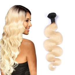 Brazilian Virgin Human Hair Weaves T1B 613 Body Wave Blonde Ombre Human Hair 1 Bundles Straight Hair Extensions Free Shipping