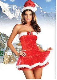 Wholesale Singer Wholesale - Red Ribbon Bow Tube Top Christmas Princess Dress With Christmas Hat Nightclub Bar Christmas Performance Singer Uniform Temptation