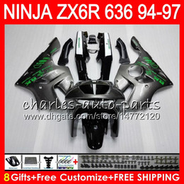 8Gifts 23Colors For KAWASAKI NINJA ZX636 ZX6R 94 95 96 97 ZX-6R ZX-636 33HM4 silver grey 600CC ZX 636 ZX 6R 1994 1995 1996 1997 Fairing kit