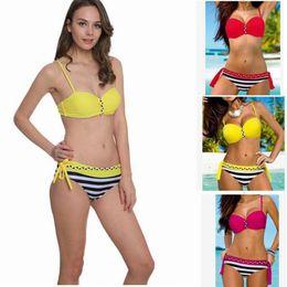 Wholesale Ensemble de bikini push up femme Swimwear Maillot de bain brésilien sexy Maillot de bain de mode Stripe Beachwear Biquini Top Bottom KKA1485