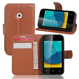 Acheter en ligne Premier téléphone intelligent-VF200 Vintage Portefeuille Housse en cuir pour Vodafone Smart First 7 VF200 Housse Flip Coque de luxe avec Stand + 2 emplacements pour cartes