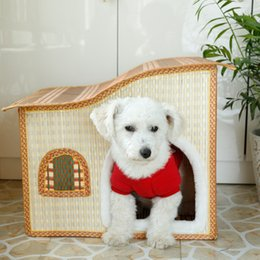 Wholesale 2016 Most New Pattern Bamboo Weaving Rattan Plaited Articles Willowerwork Springsummerautumn And Winter Four Seasons Small sized Dog Pets Ho